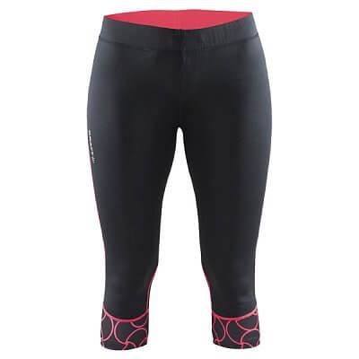 Kalhoty Craft W Kalhoty Devotion Capri černá s růžovou