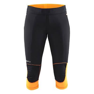 Kalhoty Craft W Kalhoty Trail Capri černá s oranžovou