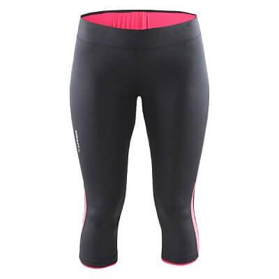 Craft W Kalhoty Prime Capri černá s růžovou