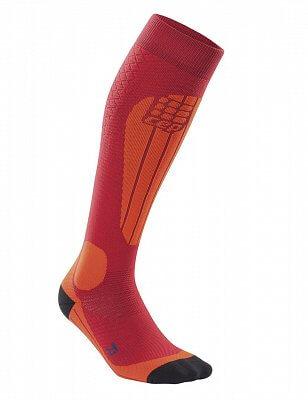 Ponožky CEP Lyžařské termo podkolenky dámské II brusinková / oranžová