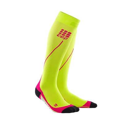 Ponožky CEP Běžecké podkolenky dámské limetková / růžová