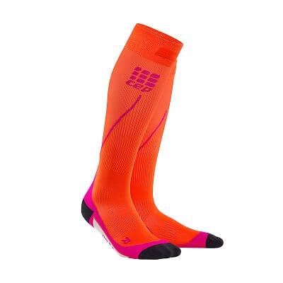Ponožky CEP Běžecké podkolenky dámské tmavě oranžová / růžová