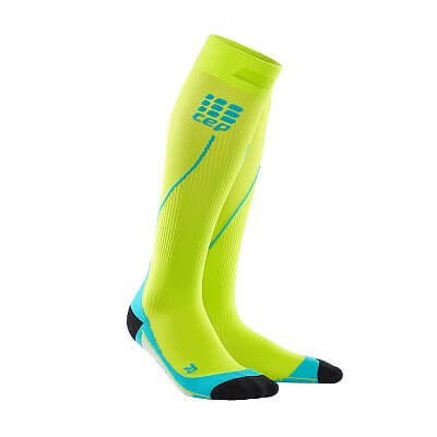Ponožky CEP Běžecké podkolenky pánské limetková / havajská modř