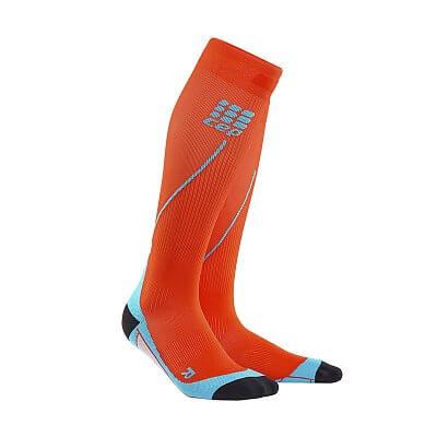 Ponožky CEP Běžecké podkolenky pánské tmavě oranžová / havajská modř