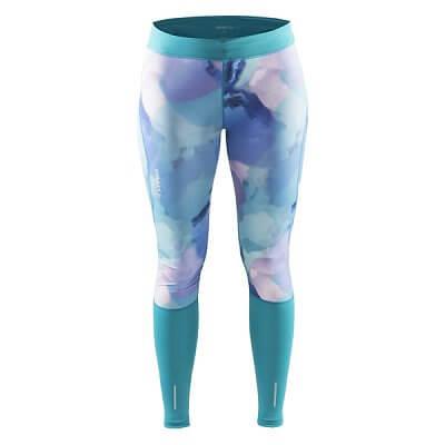 Kalhoty Craft W Kalhoty Devotion Tights potisk zelenomodrá