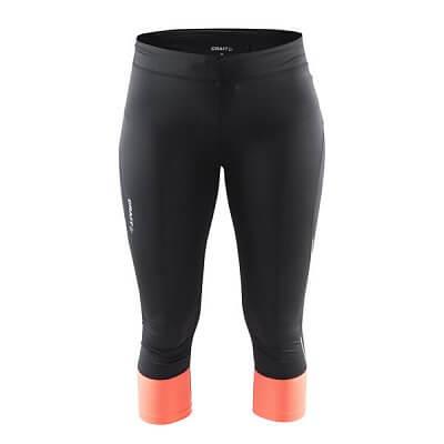 Kalhoty Craft W Kalhoty Devotion Capri černá s oranžovou