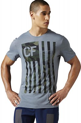 Pánské fitness tričko Reebok CrossFit Camo Flag Pocket Tee