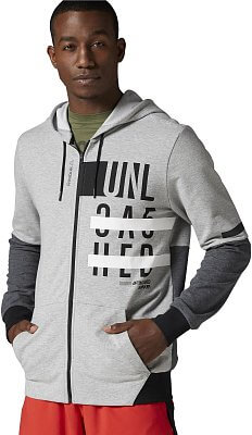Pánská fitness mikina Reebok WorkOut Ready Cotton Graphic Zip Hoodie
