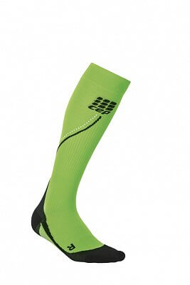 Ponožky CEP Běžecké podkolenky NIGHT dámské reflexní zelená