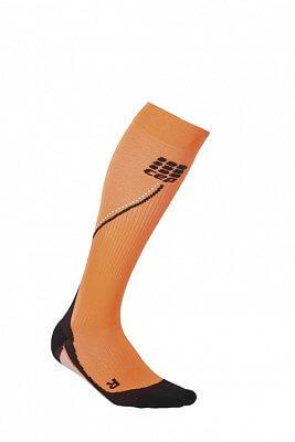 Ponožky CEP Běžecké podkolenky NIGHT pánské reflexní oranžová