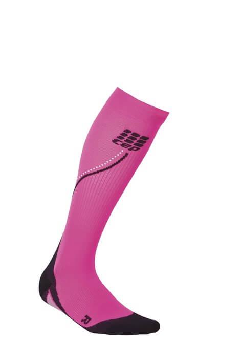Socken CEP Běžecké podkolenky NIGHT dámské reflexní růžová