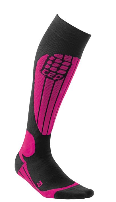 Ponožky CEP Lyžařské termo podkolenky dámské černá / růžová