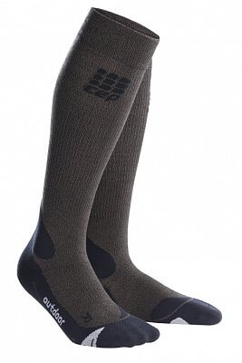 Ponožky CEP Outdoorové podkolenky merino dámské hnědá / černá
