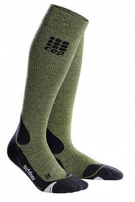 Ponožky CEP Outdoorové podkolenky merino dámské zelená / černá