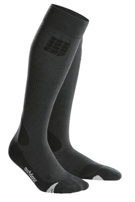 Ponožky CEP Outdoorové podkolenky merino pánské šedá / černá