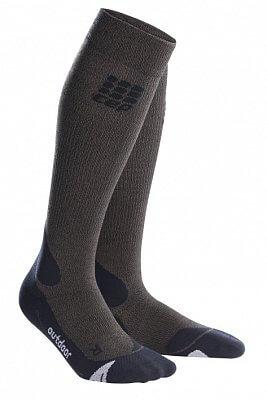 Ponožky CEP Outdoorové podkolenky merino pánské hnědá / černá