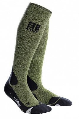 Ponožky CEP Outdoorové podkolenky merino pánské zelená / černá