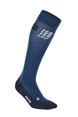 Ponožky CEP Běžecké podkolenky merino pánské tmavě modrá / černá
