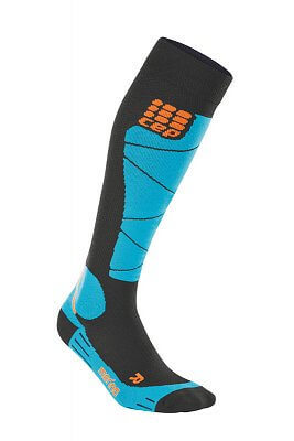 Ponožky CEP Lyžařské podkolenky merino dámské černá / azurová