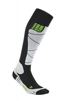 Ponožky CEP Lyžařské podkolenky merino pánské černá / šedá