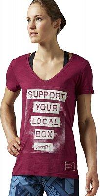 Dámské fitness tričko Reebok CrossFit Support Your Local Box V-neck Tee