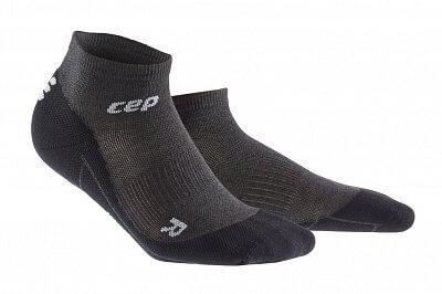 Ponožky CEP Běžecké kotníkové ponožky merino pánské antracitová / černá