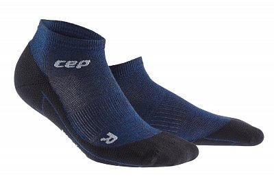 CEP Běžecké kotníkové ponožky merino pánské tmavě modrá / černá