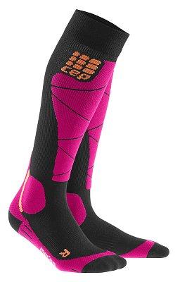 Ponožky CEP Lyžařské podkolenky merino dámské černá / růžová