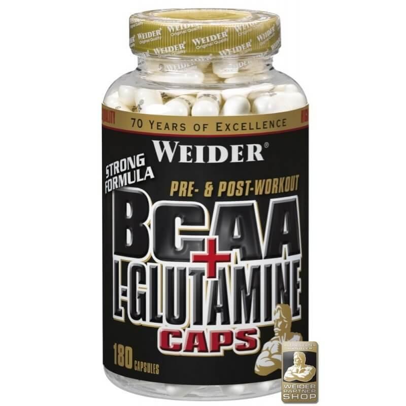 Aminokyseliny Weider BCAA + L-Glutamin, 180 kapslí