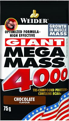 Sacharidy a gainery Weider Mega Mass 4000, 75g