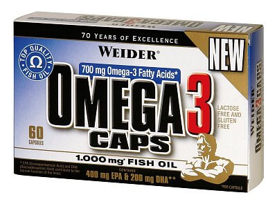 Vitamíny a minerály Weider Omega 3 Caps, 60 kapslí