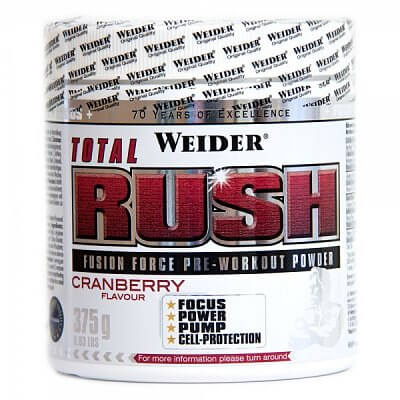 Anabolizéry a stimulanty Weider Total Rush Fusion Force Pre-Workout Powder, 375g