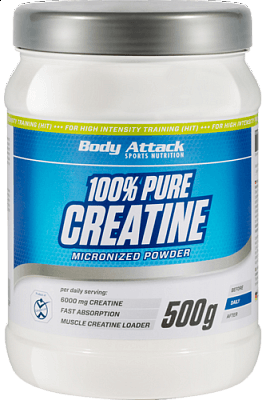 Kreatin Body Attack 100% Pure Creatine Micronized Powder, 500g