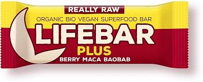 Tyčinky Lifefood Lifebar Plus s ovocem a macou BIO, 47g
