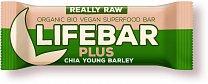 Lifefood Lifebar Plus s mladým ječmenem a chia semínky BIO, 47g