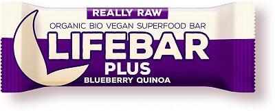 Tyčinky Lifefood Lifebar Plus Borůvková s quinou BIO, 47g