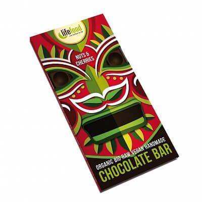 Zdravé potraviny Lifefood Chocolate s kousky ořechů a třešní BIO, 70g