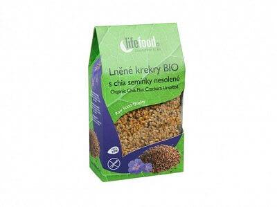 Zdravé potraviny Lifefood Lněné krekry s chia semínky nesolené BIO, 90g