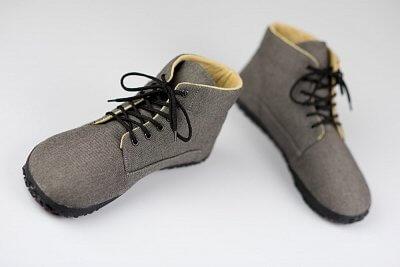 Unisexová barefoot obuv Ahinsa Sunbrella šedá kotníčková (Sundara)