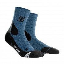 CEP Outdoorové ponožky MERINO pánské III žíhaná modrá / černá