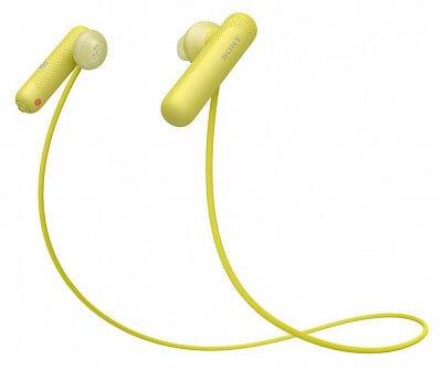 Sportovní bezdrátová Bluetooth sluchátka Sony WISP500 žlutá