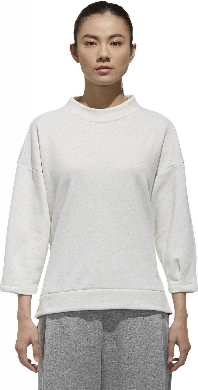 Melegítő felső adidas W Sport2Street Big Logo Fleece 3/4 Sleeve Pullover Sweat