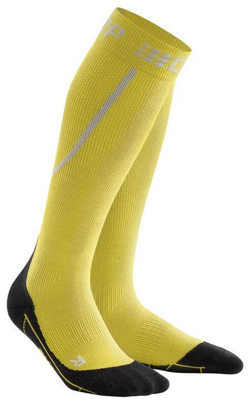 Ponožky CEP Zimní běžecké podkolenky pánské žlutá / černá
