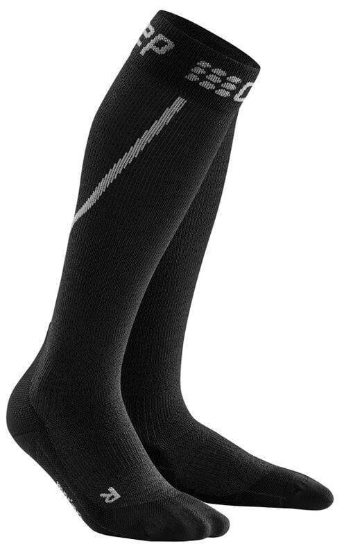 Ponožky CEP Zimní běžecké podkolenky dámské šedá / černá