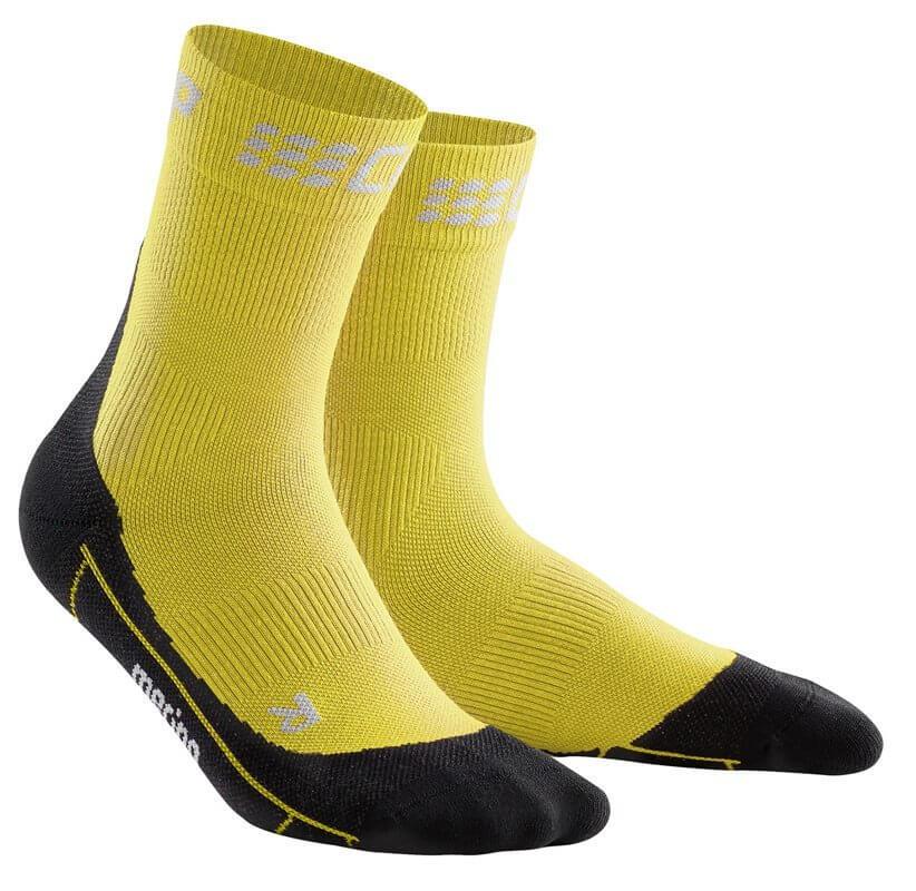 Zoknik CEP Krátké zimní běžecké ponožky pánské žlutá / černá