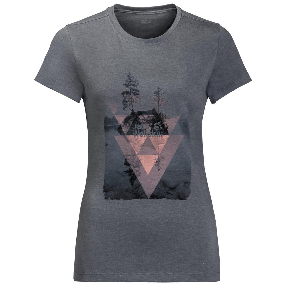 Pólók Jack Wolfskin Lake T-Shirt Women pebble grey 6505
