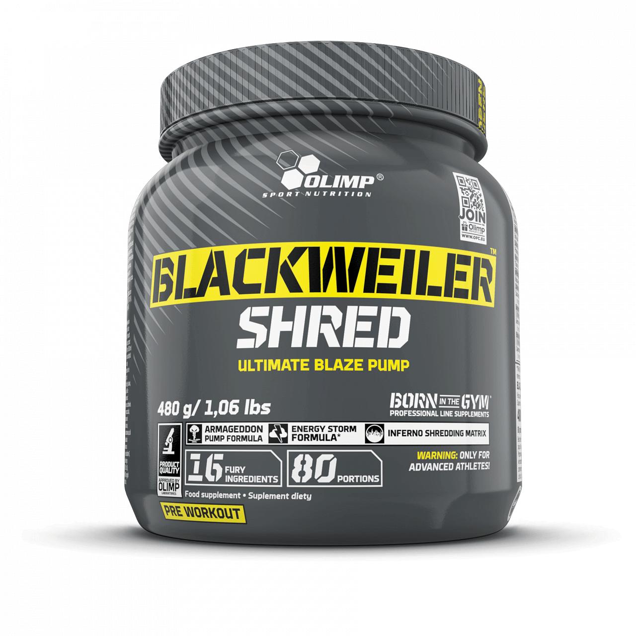 Anabolizéry a stimulanty OLIMP BLACKWEILER SHRED, předtréninková směs, EXOTIC ORANGE, 480g