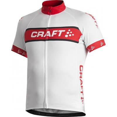 Trička Craft Cyklodres AB Logo bílá s červenou