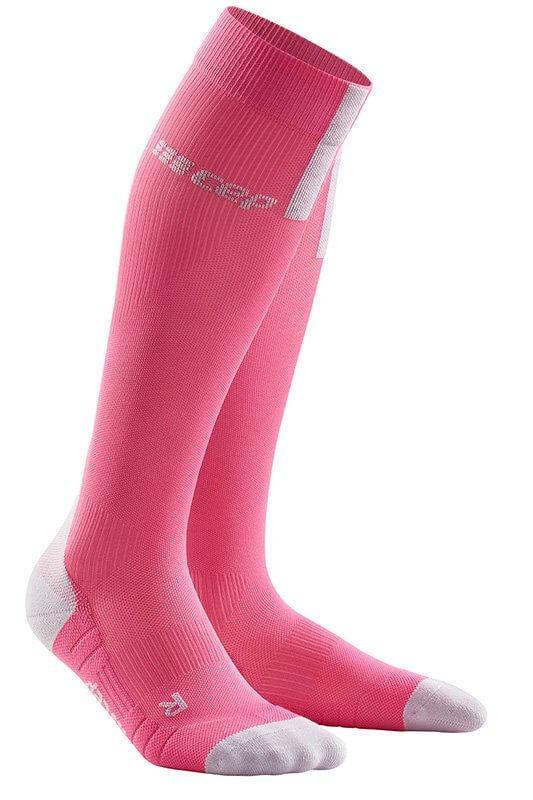 Ponožky CEP Běžecké podkolenky 3.0 dámské růžová rose / světle šedá