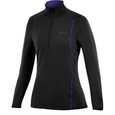 Mikiny Craft W Rolák Lightweight Stretch Pullover černá s fialovou